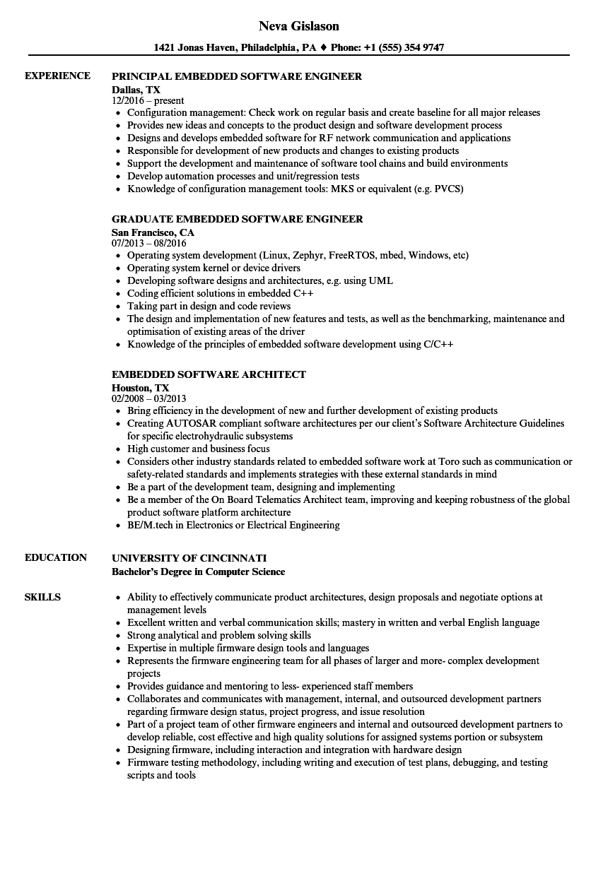 embedded software resume samples
