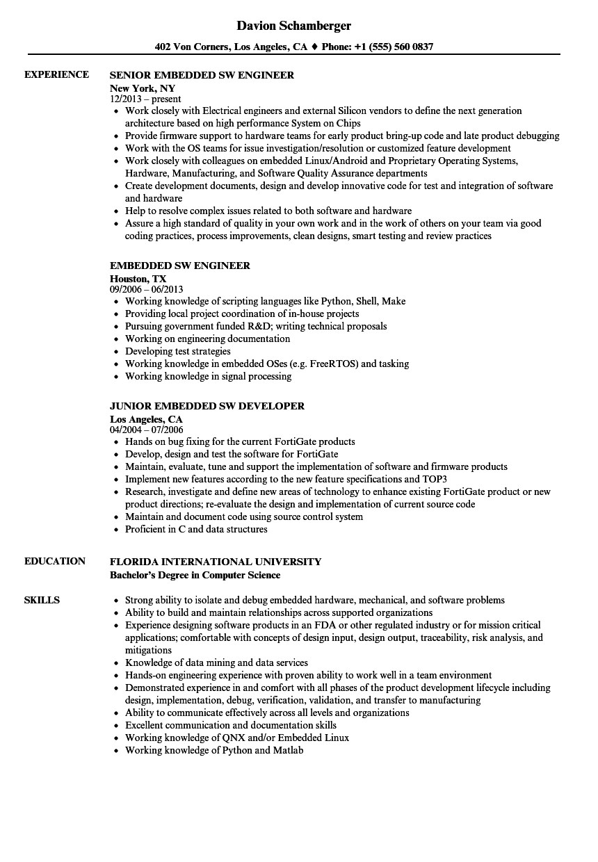 Embedded SW Resume Samples | Velvet Jobs