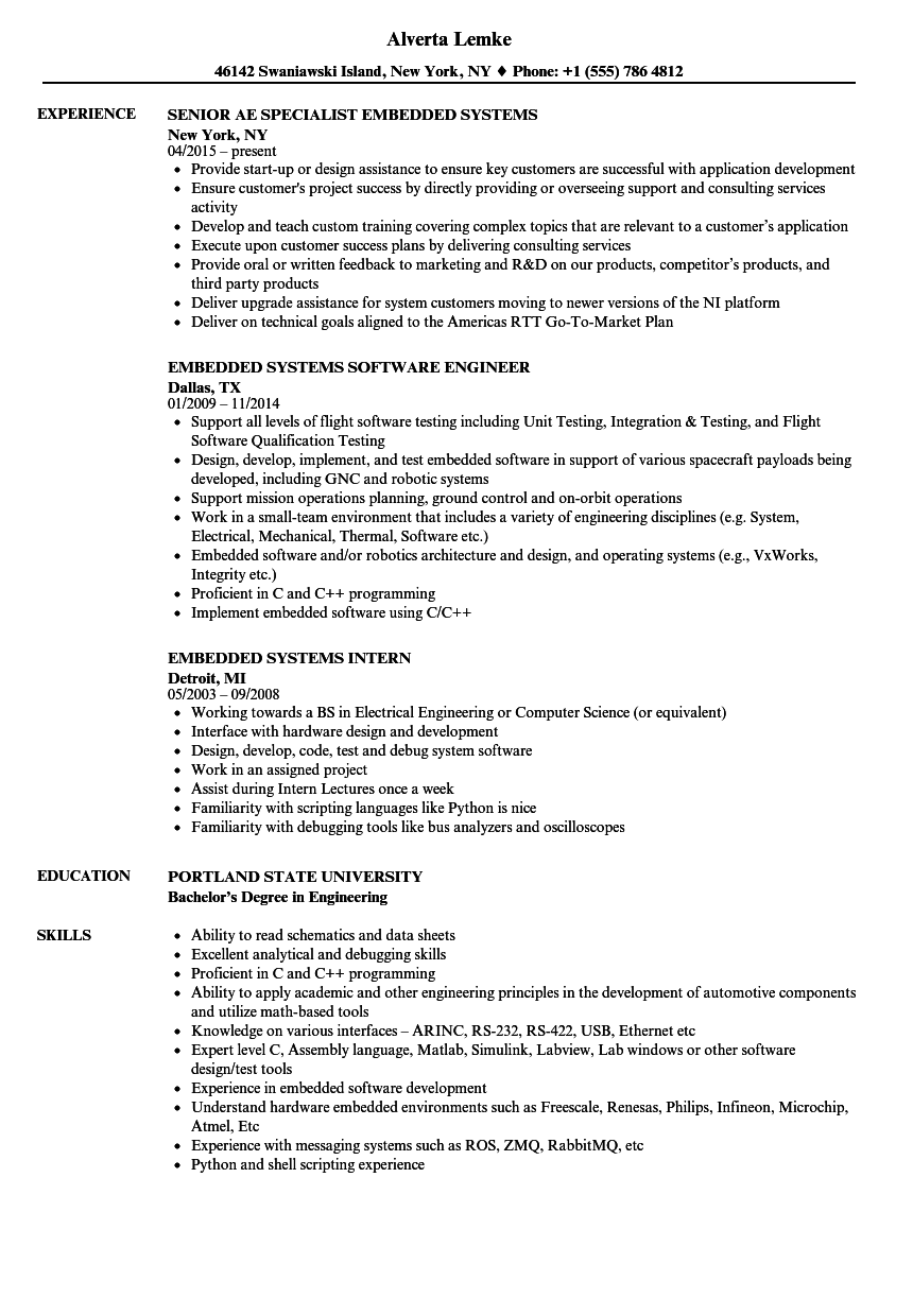 Embedded Systems Resume Samples | Velvet Jobs