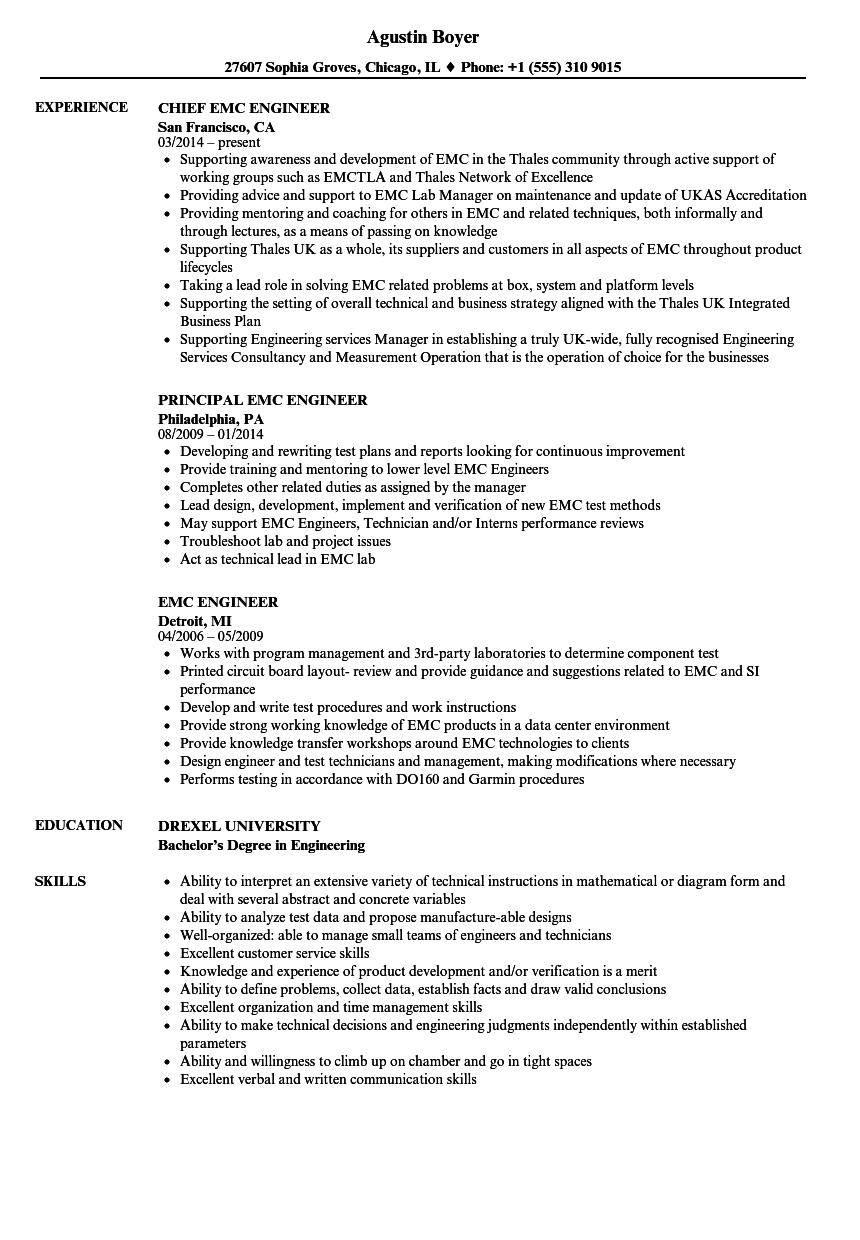 EMC Engineer Resume Samples