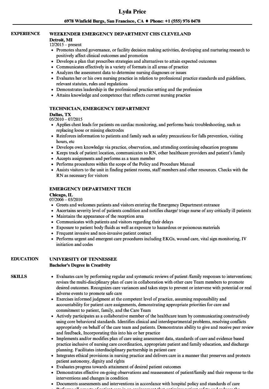 emergency department resume samples