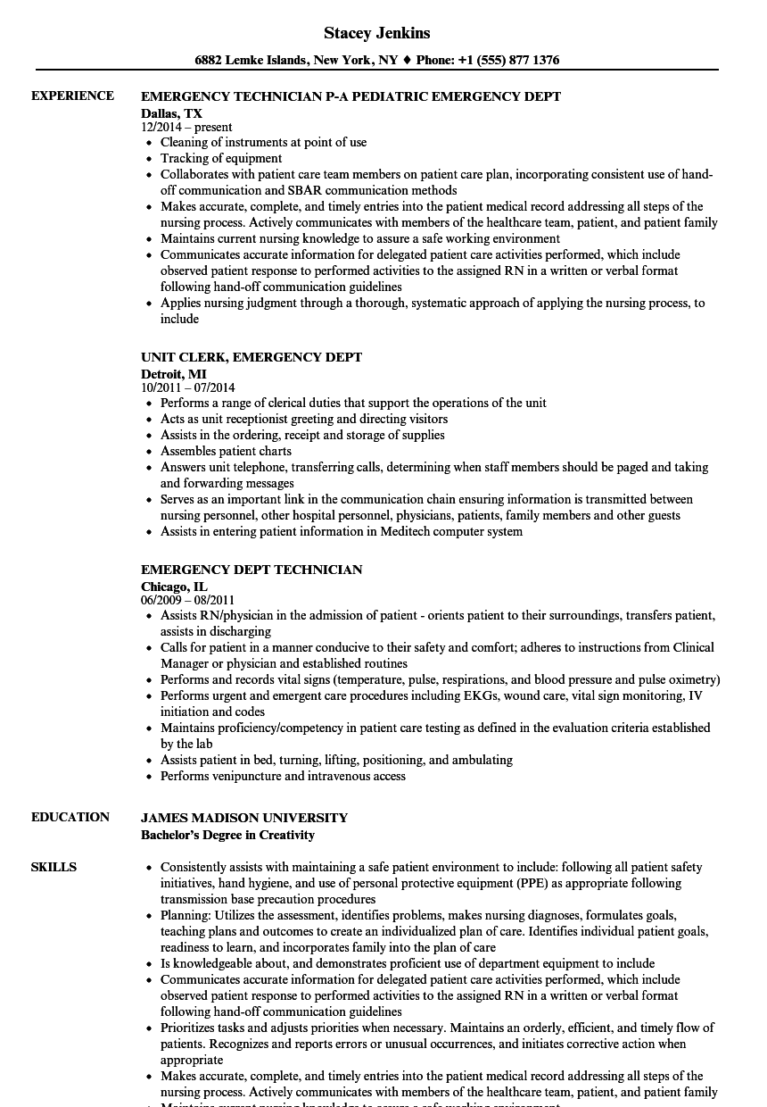 emergency dept resume samples