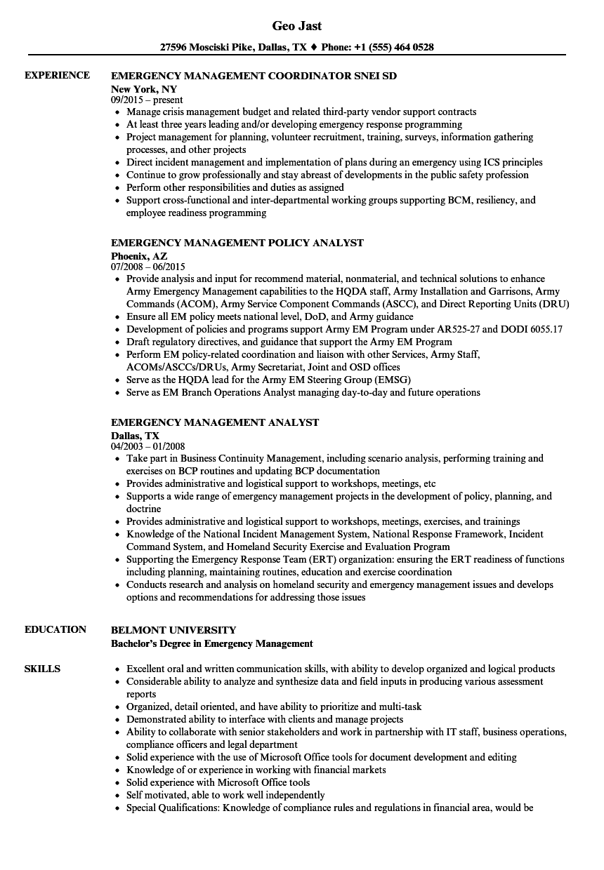 Emergency Management Resume Samples | Velvet Jobs