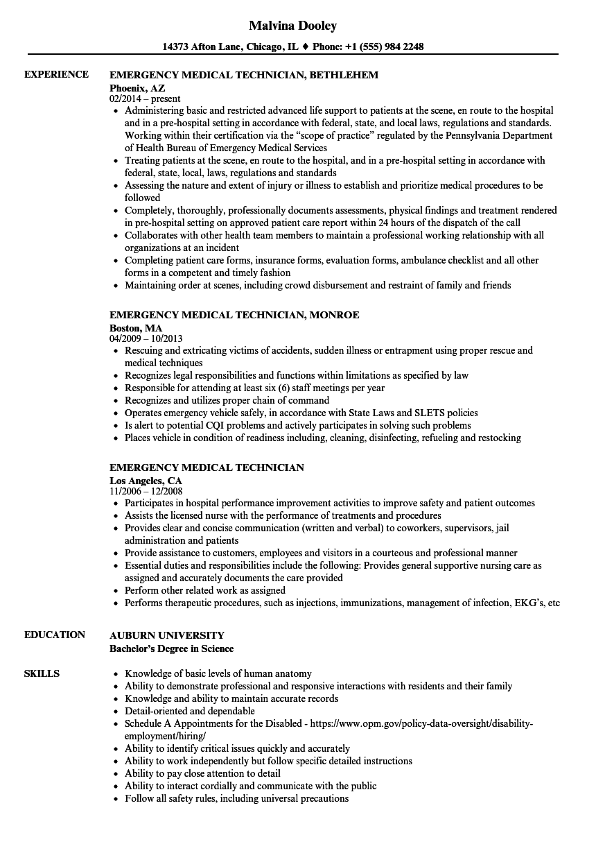 Emergency Medical Technician Resume Samples | Velvet Jobs