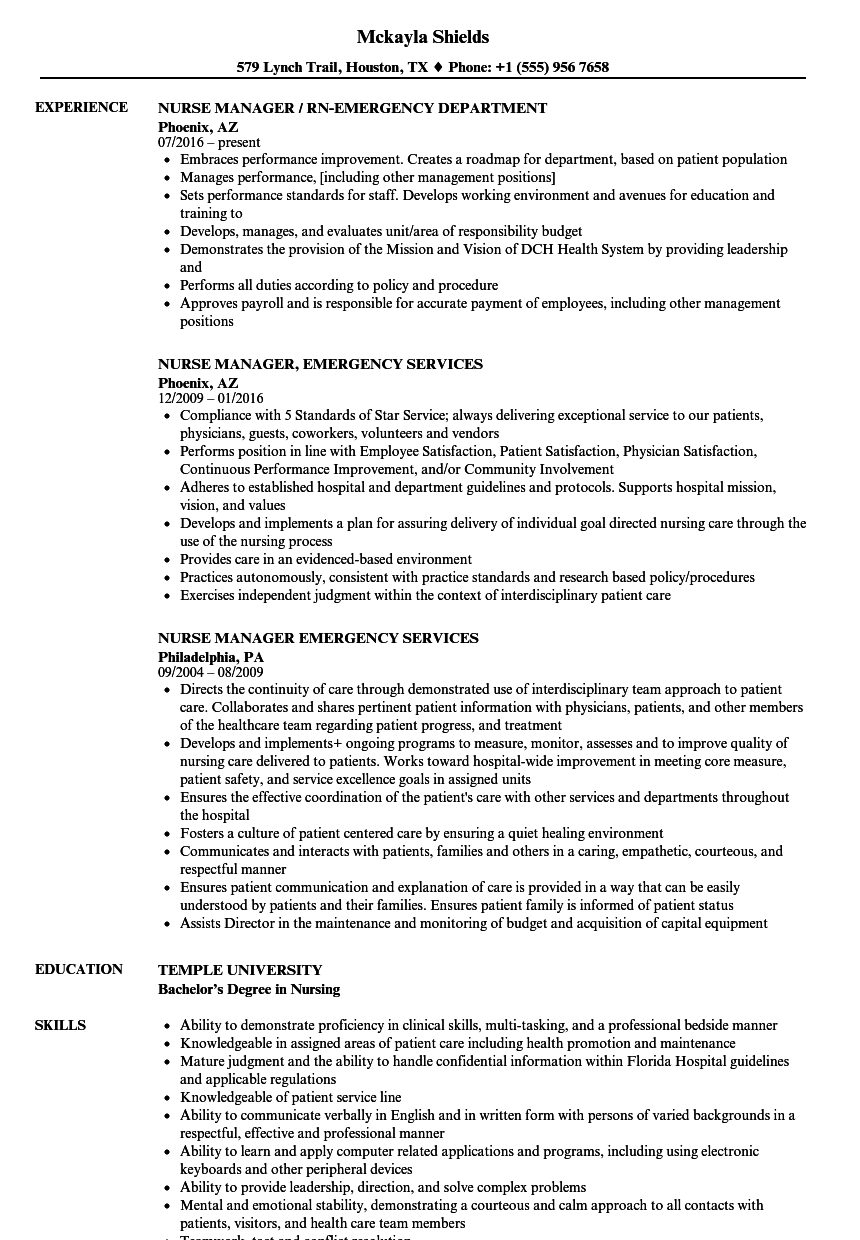 Emergency Nurse Resume Samples | Velvet Jobs