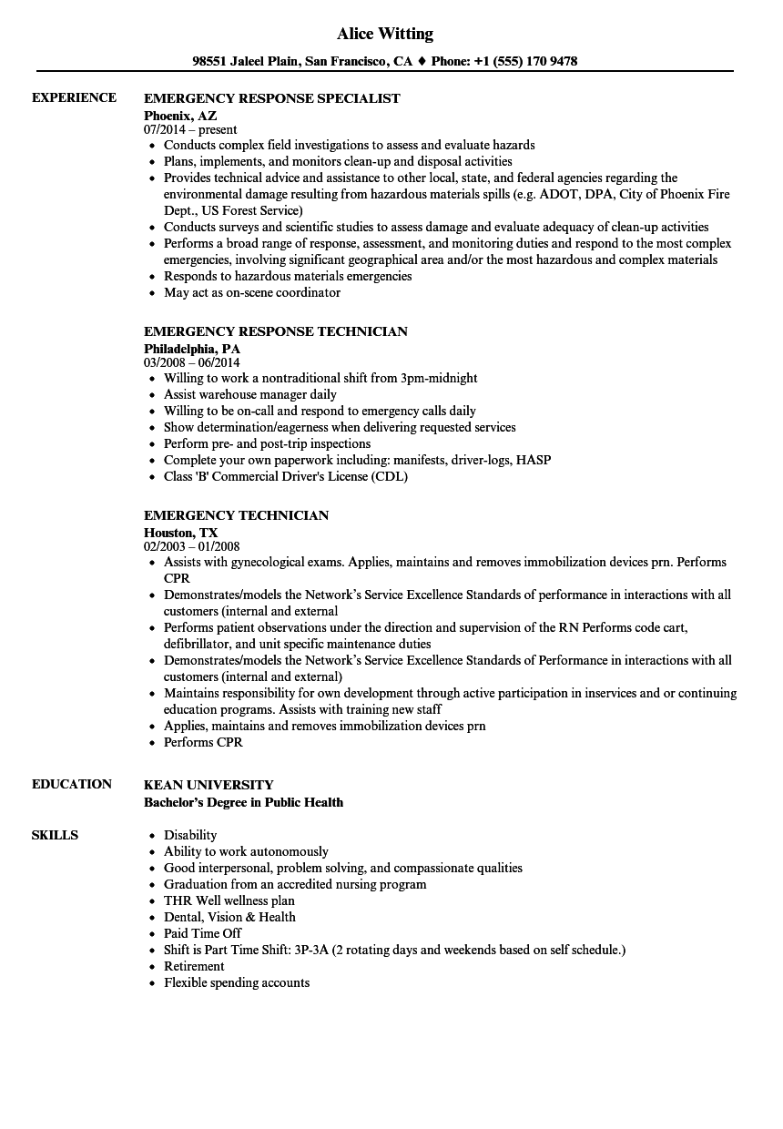 Emergency Resume Samples | Velvet Jobs