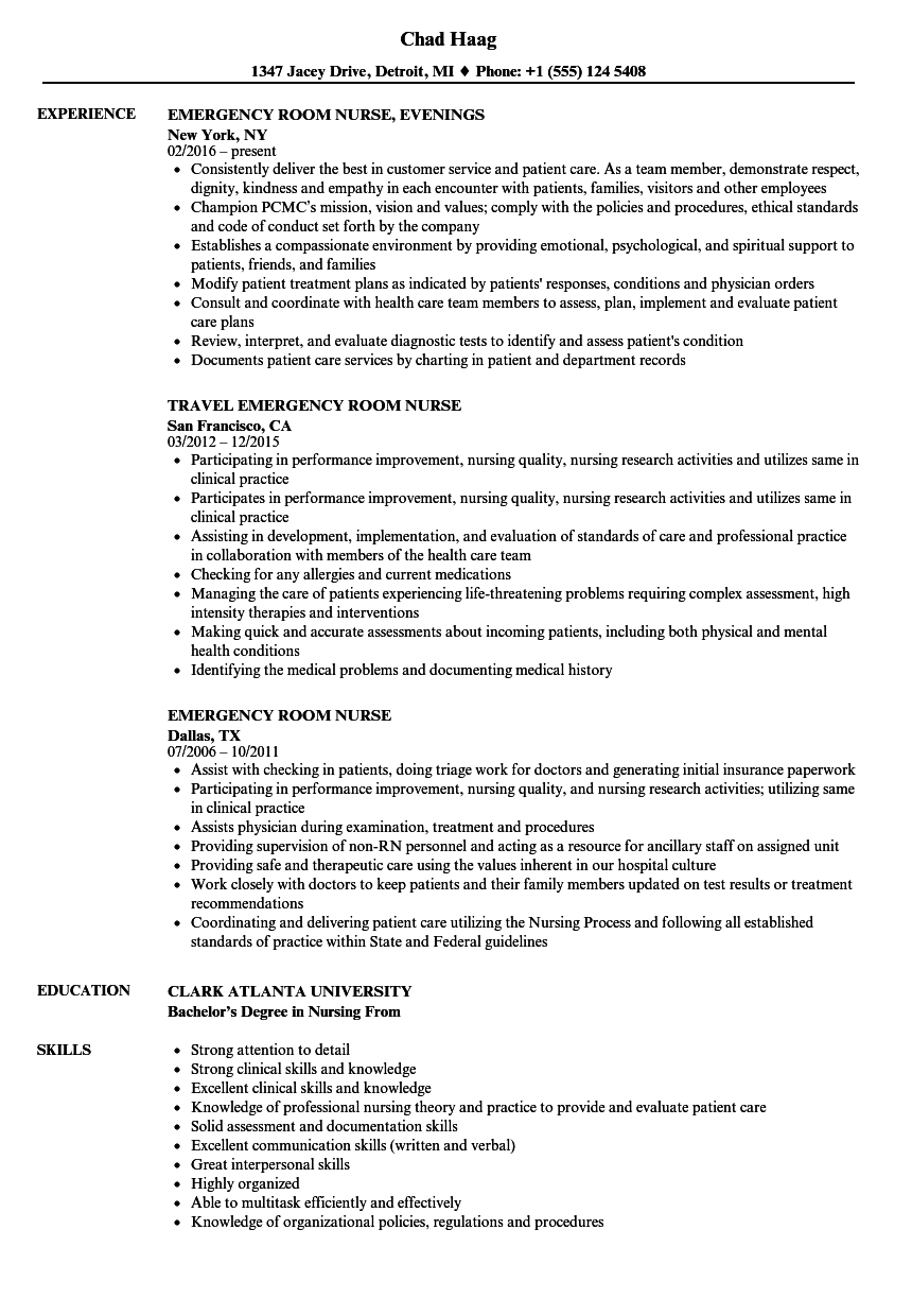Emergency Room Nurse Resume Samples | Velvet Jobs