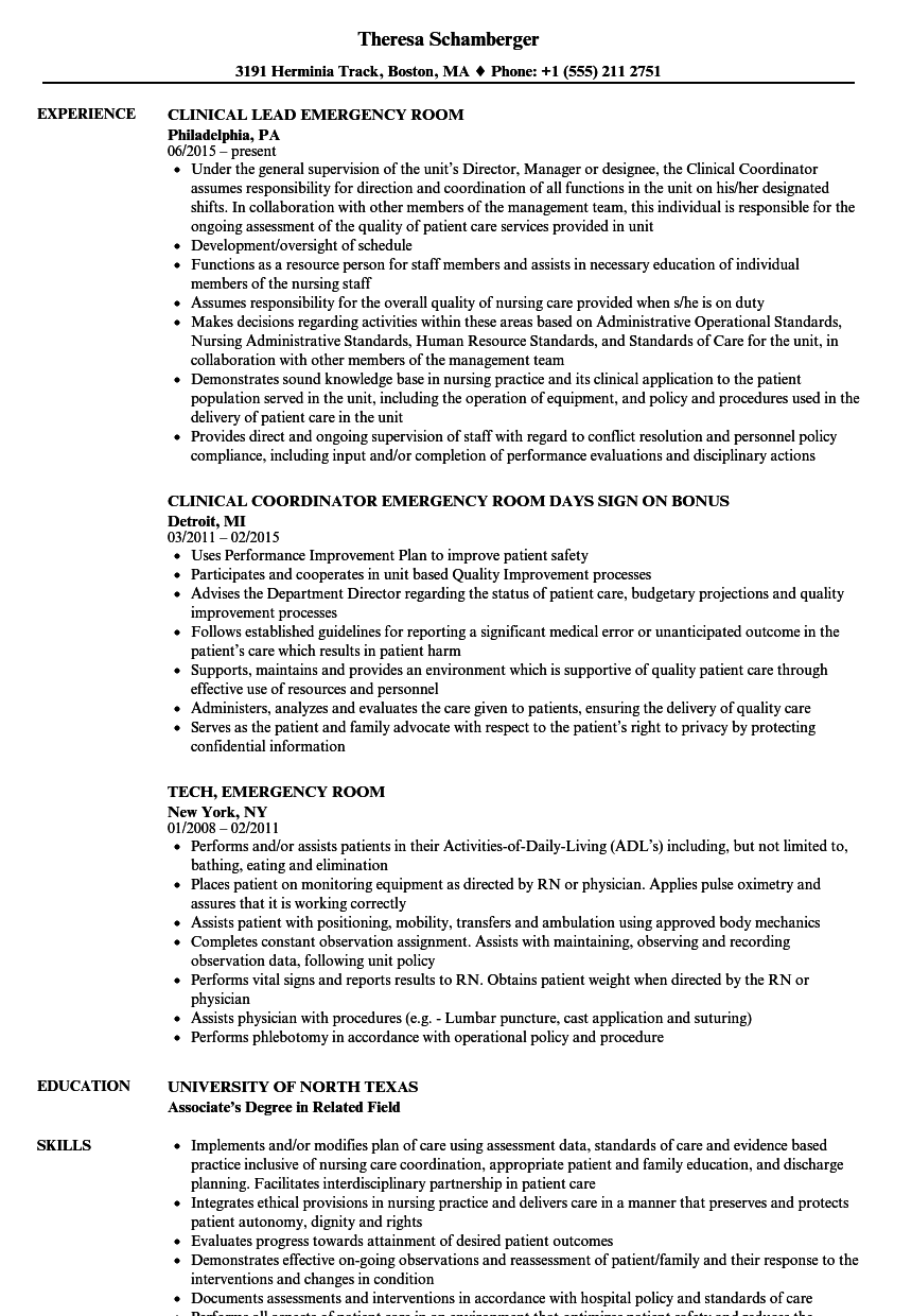 Emergency Room Resume Samples | Velvet Jobs