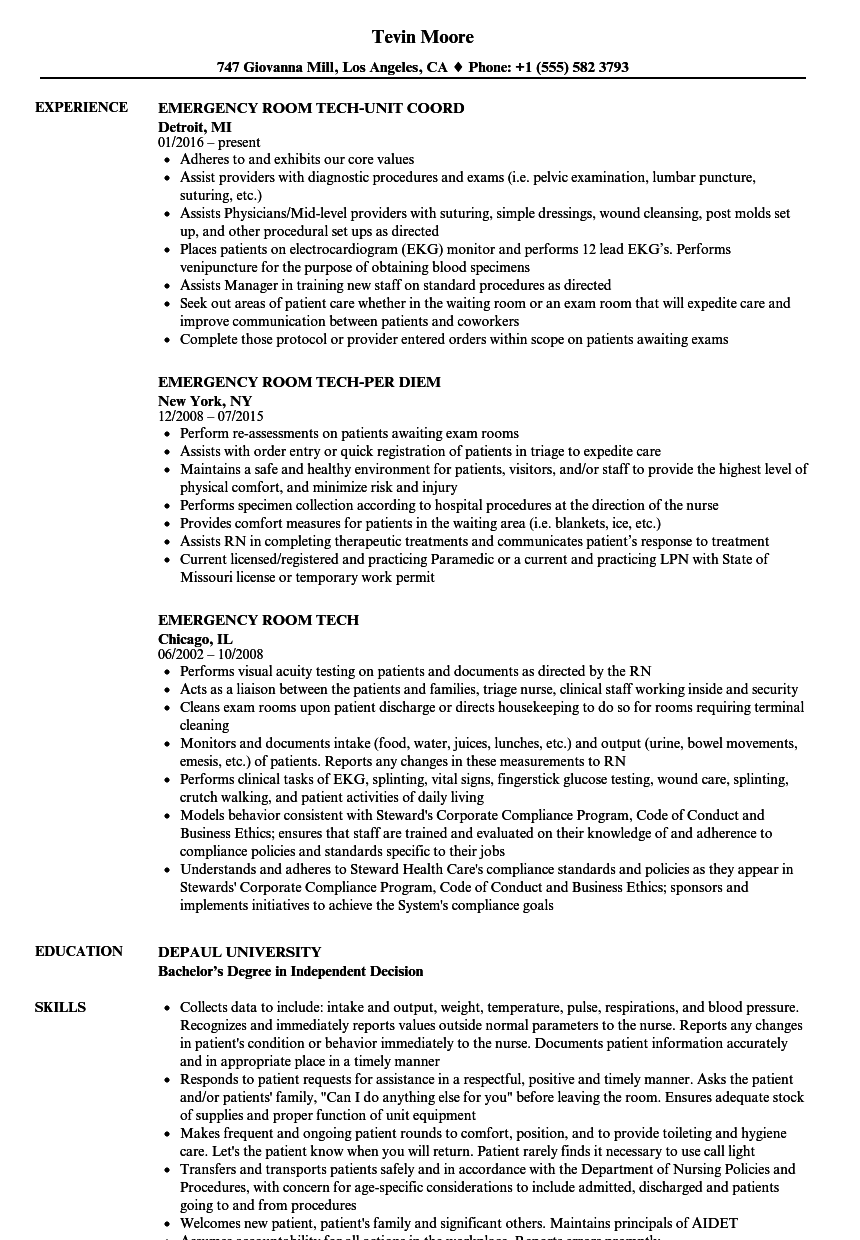 emergency room tech resume samples