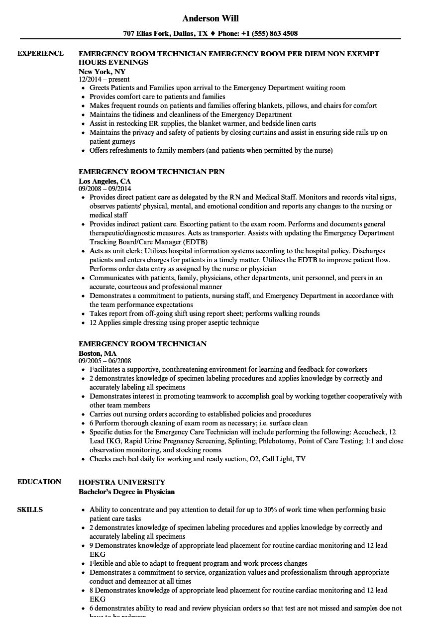 Emergency Room Technician Resume Samples | Velvet Jobs