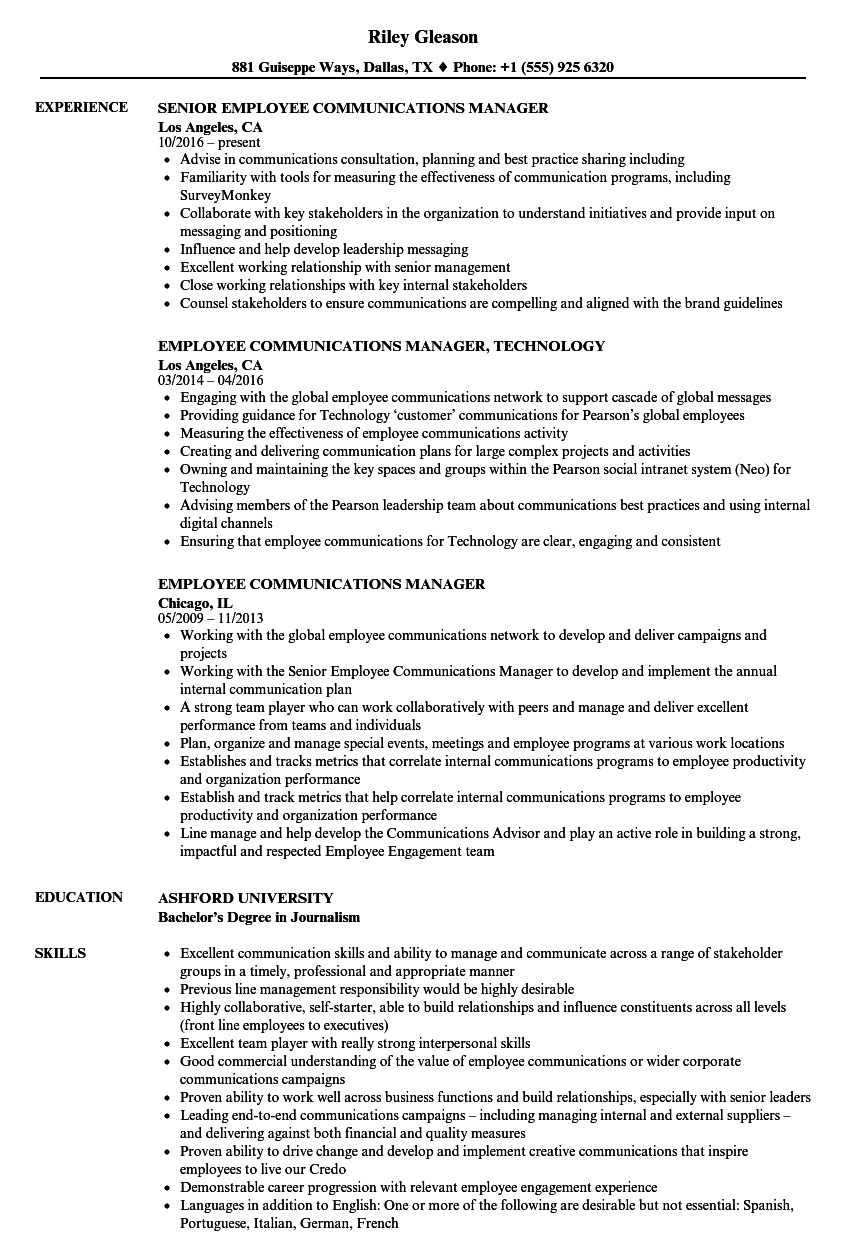 Employee Communications Manager Resume Samples
