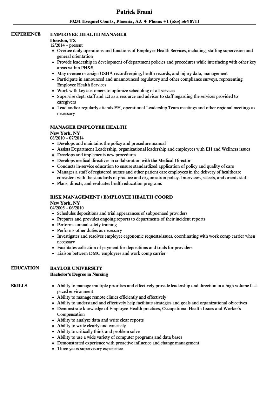 Employee Health Resume Samples   Velvet Jobs