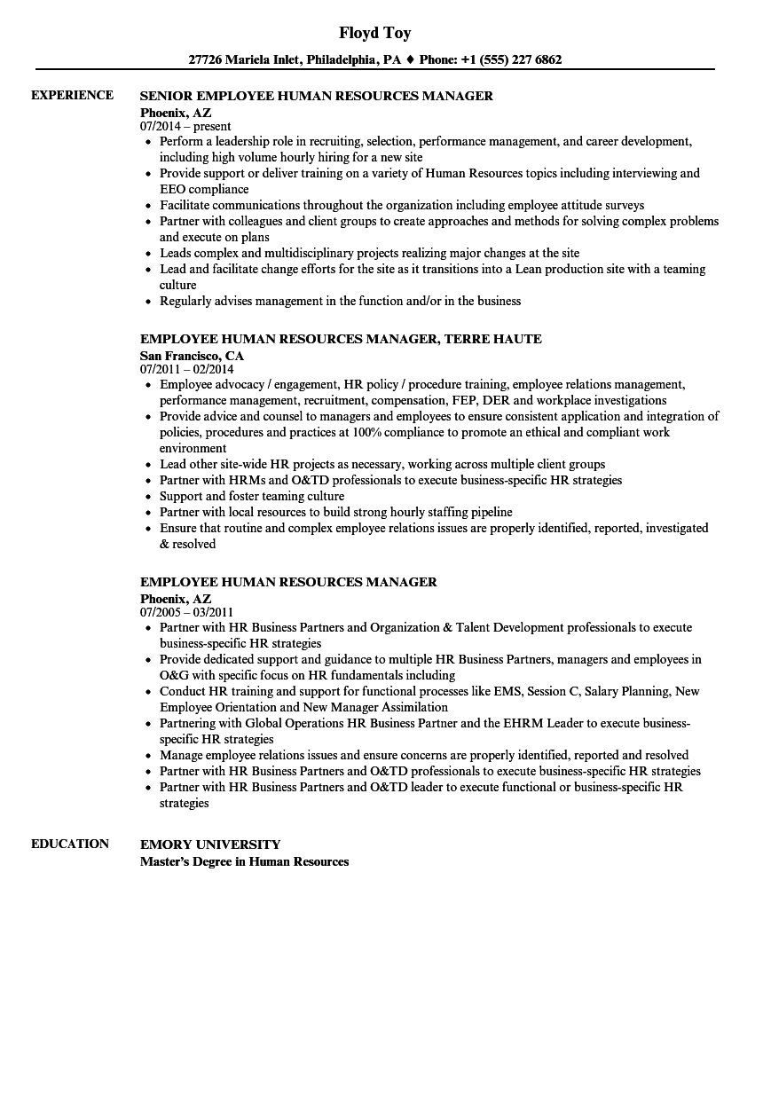 Employee Human Resources Manager Resume Samples | Velvet Jobs