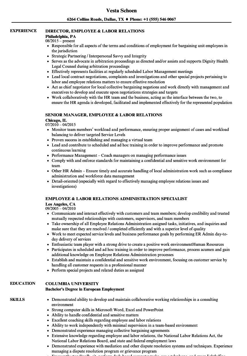 Employee / Labor Relations Resume Samples | Velvet Jobs