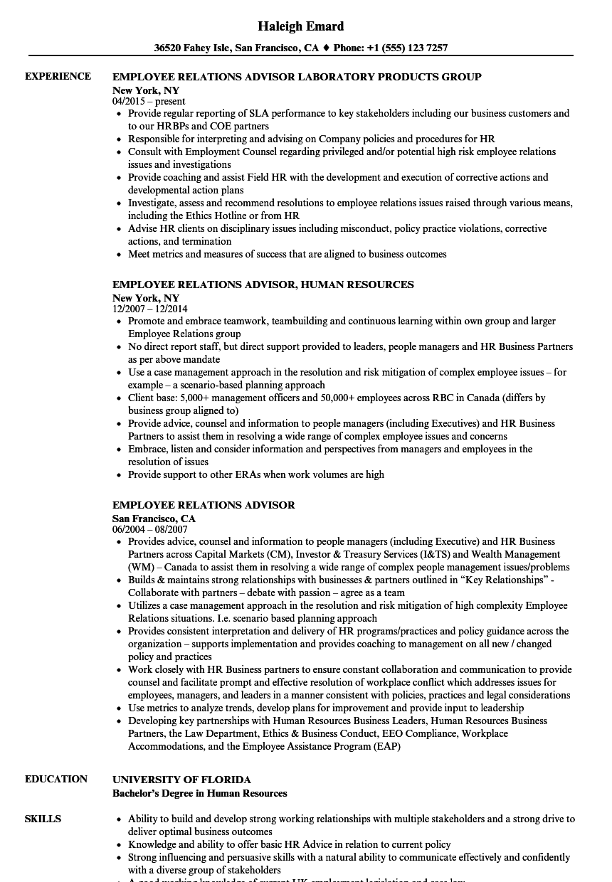 Employee Relations Advisor Resume Samples | Velvet Jobs