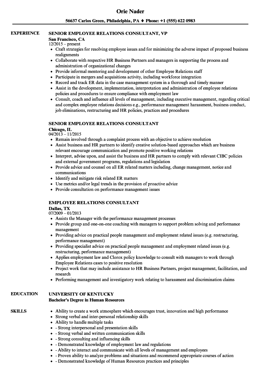 employee relations consultant resume samples