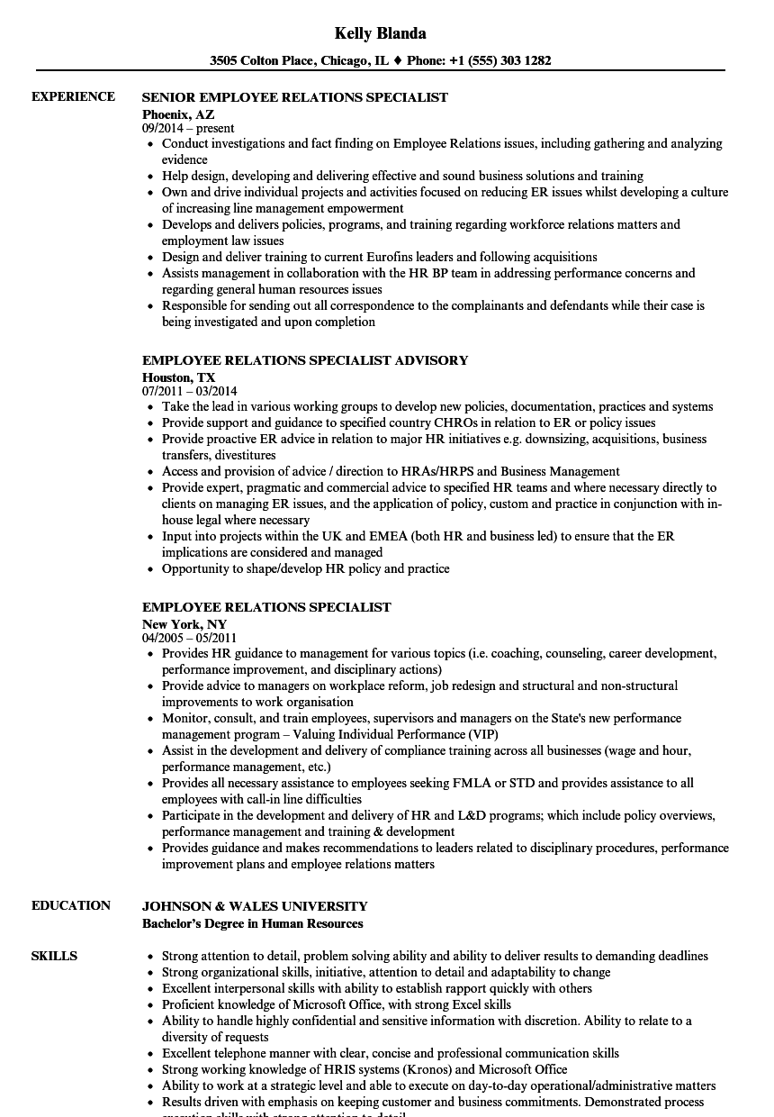 Download Employee Relations Specialist Resume Sample As Image File