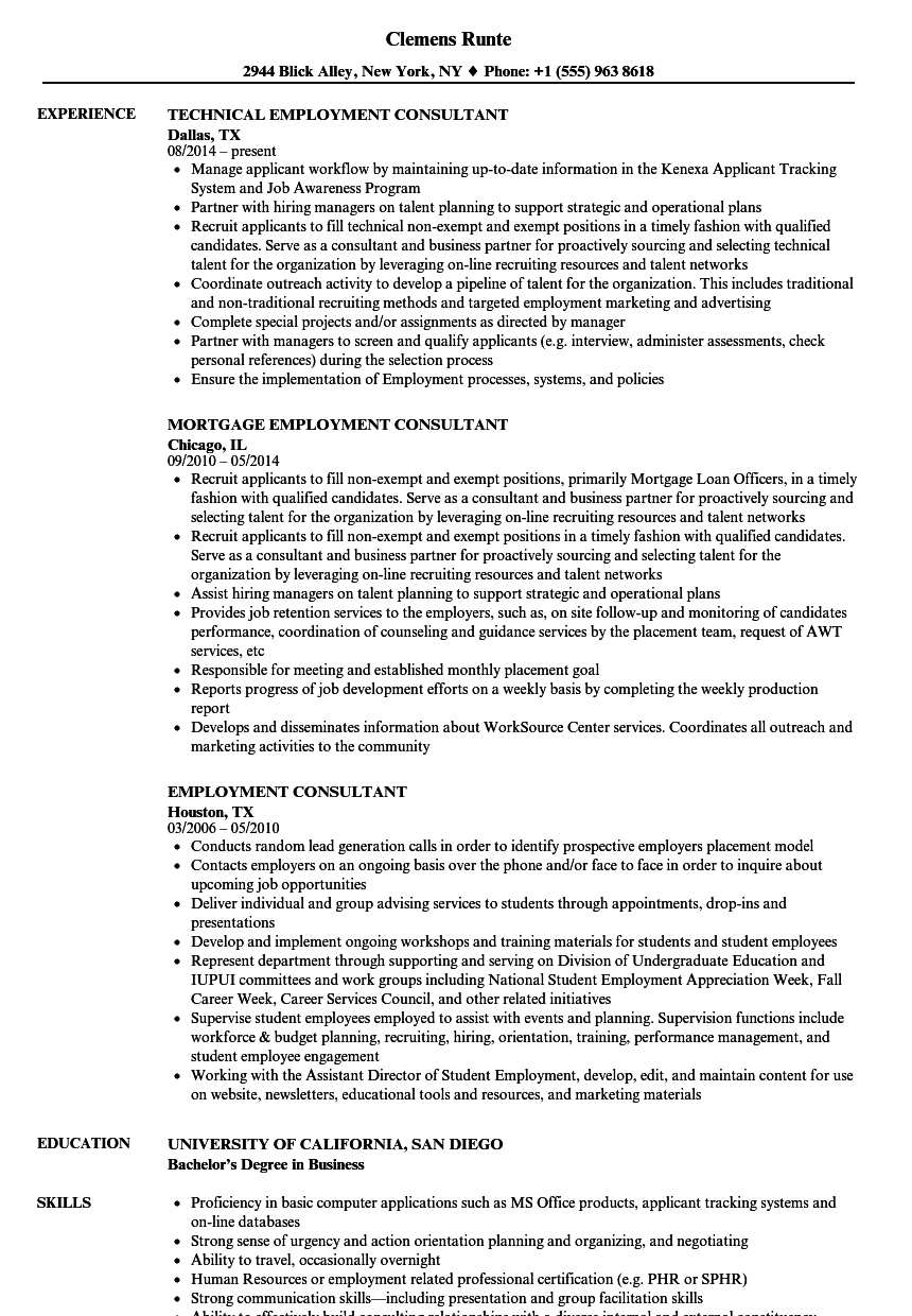 Employment Consultant Resume Samples | Velvet Jobs