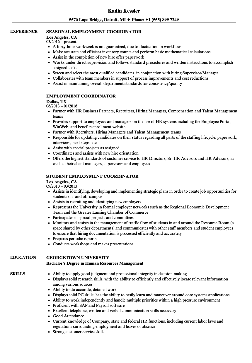 Employment Coordinator Resume Samples | Velvet Jobs