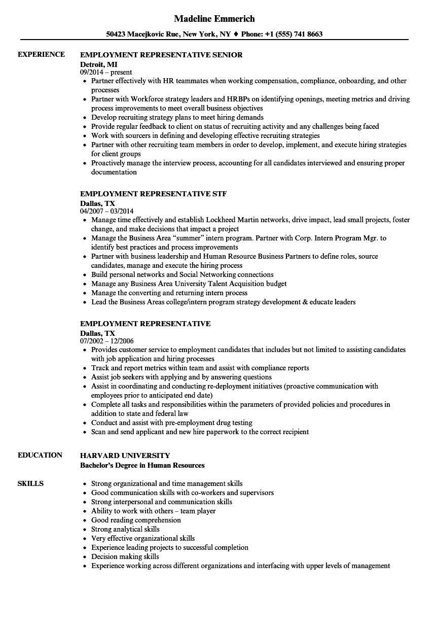 Employment representative resume samples velvet jobs download employment representative resume sample as image file thecheapjerseys Choice Image