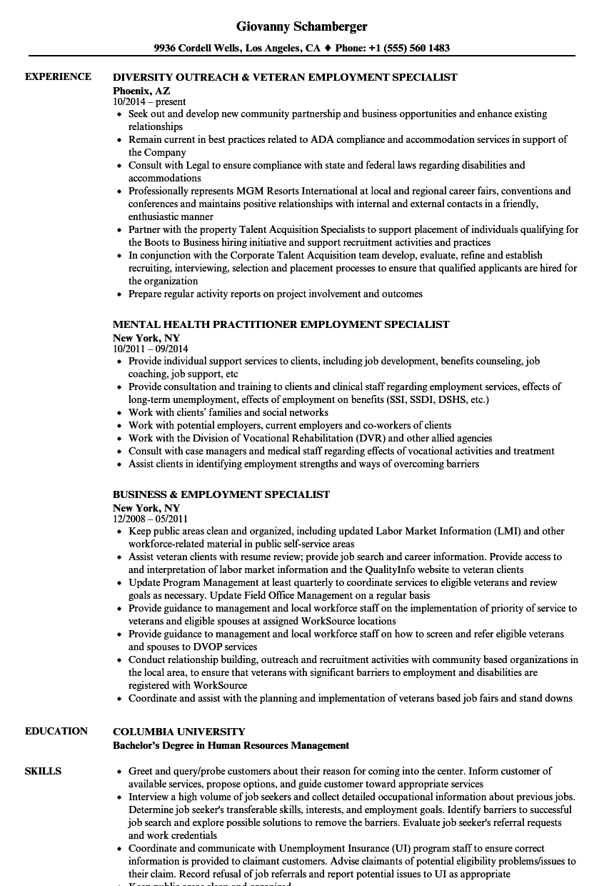Employment Specialist Resume Samples | Velvet Jobs