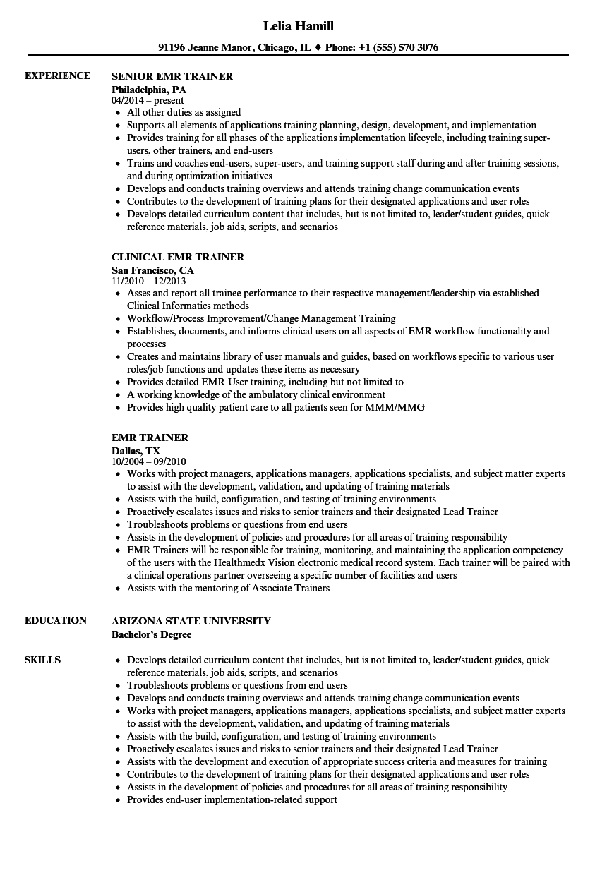 Emr Trainer Resume Samples Velvet Jobs