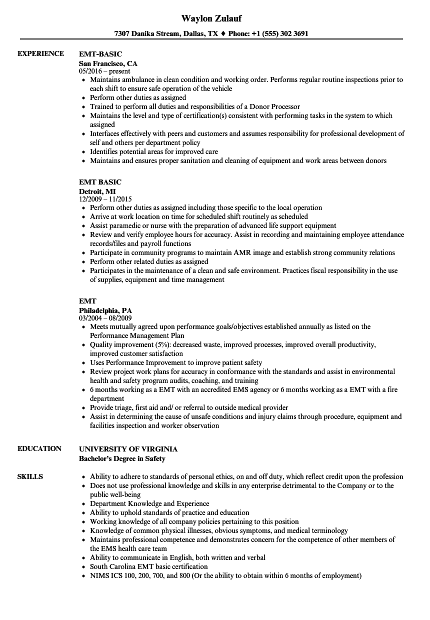 Emt resume samples velvet jobs altavistaventures Image collections