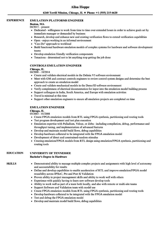 emulation engineer resume samples