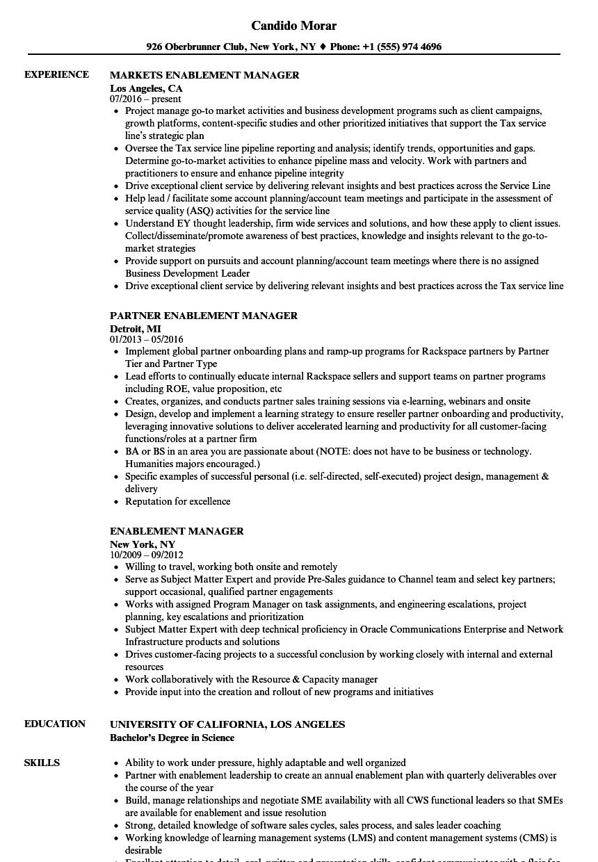 Enablement Manager Resume Samples   Velvet Jobs
