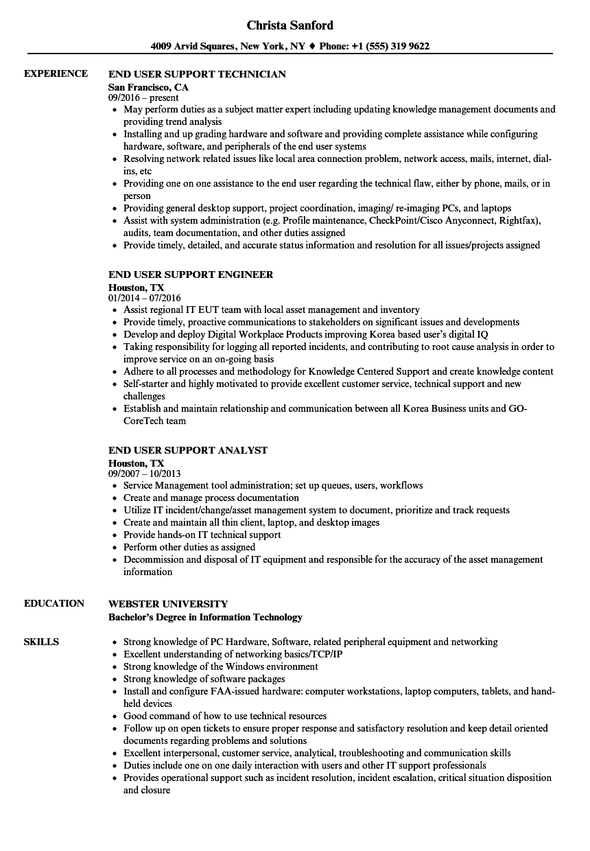 Download End User Support Resume Sample As Image File