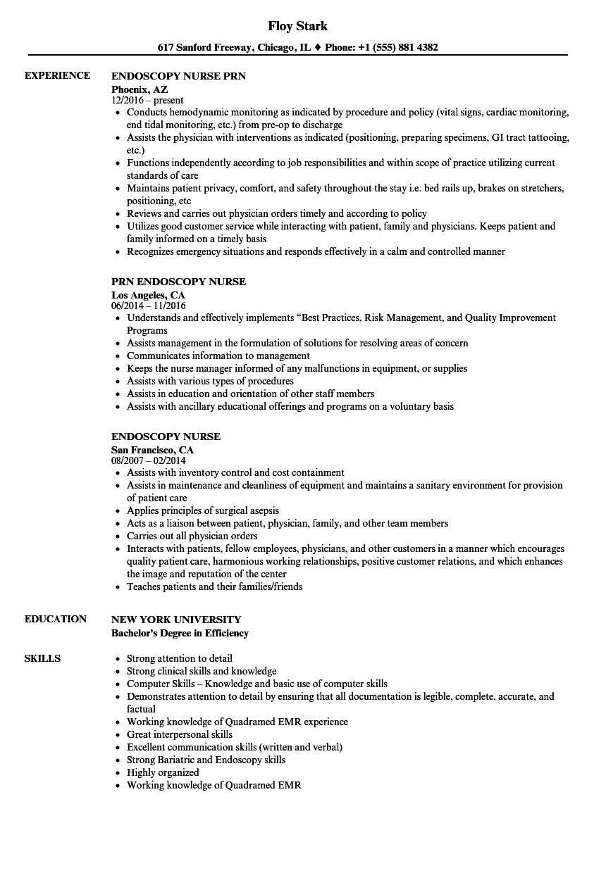 endoscopy nurse resume samples