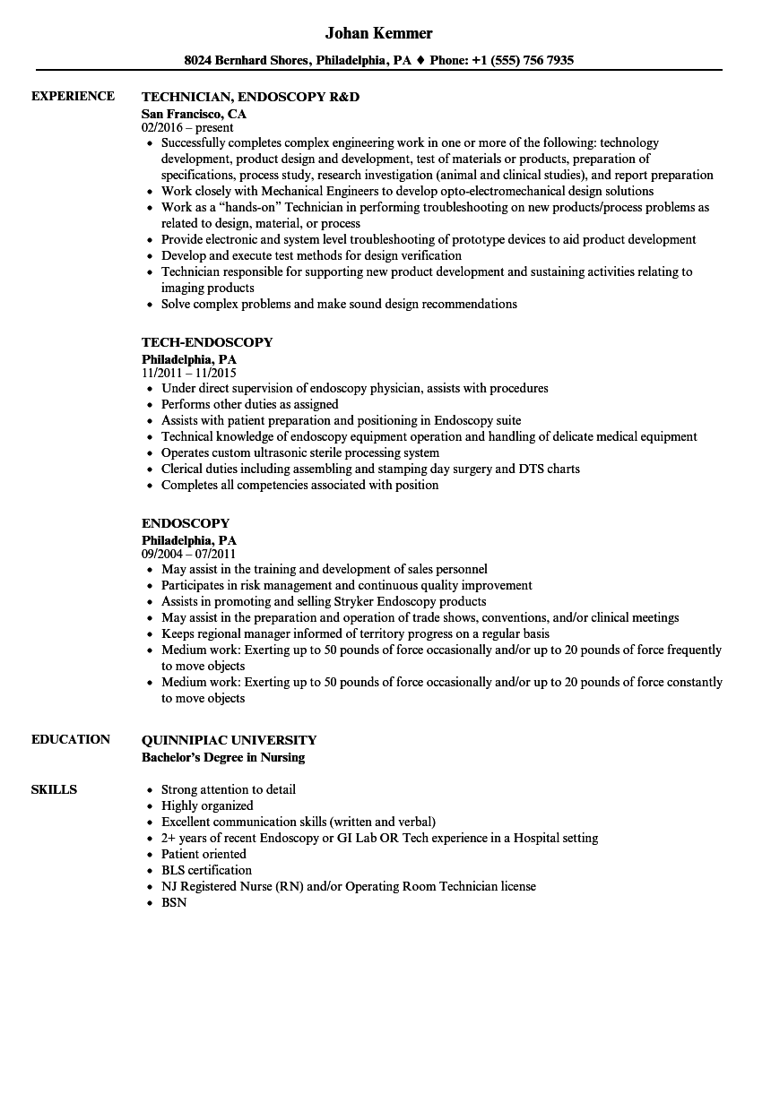 endoscopy resume samples