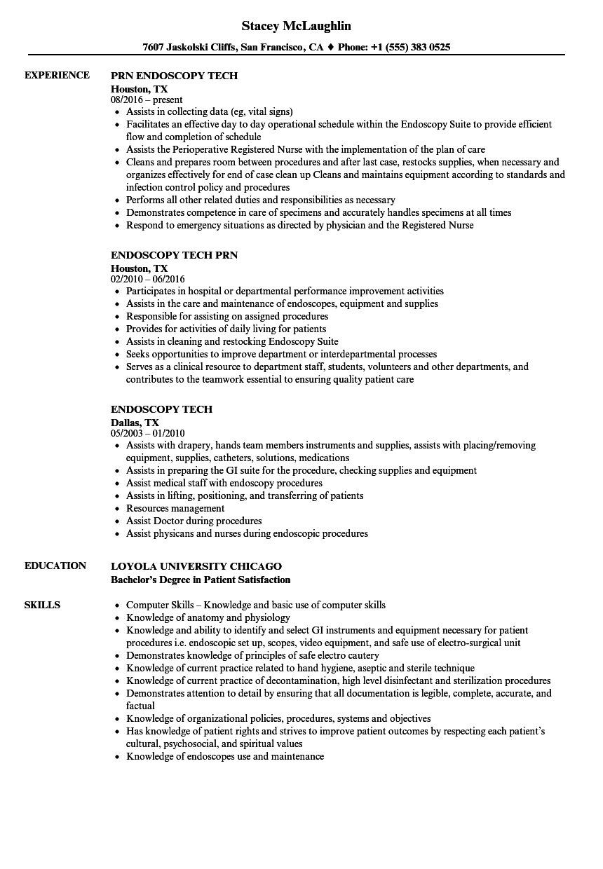 Endoscopy Tech Resume Samples Velvet Jobs