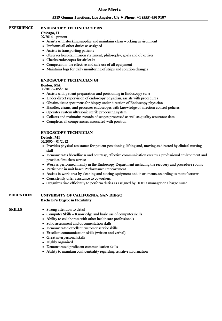 Endoscopy Technician Resume Samples | Velvet Jobs