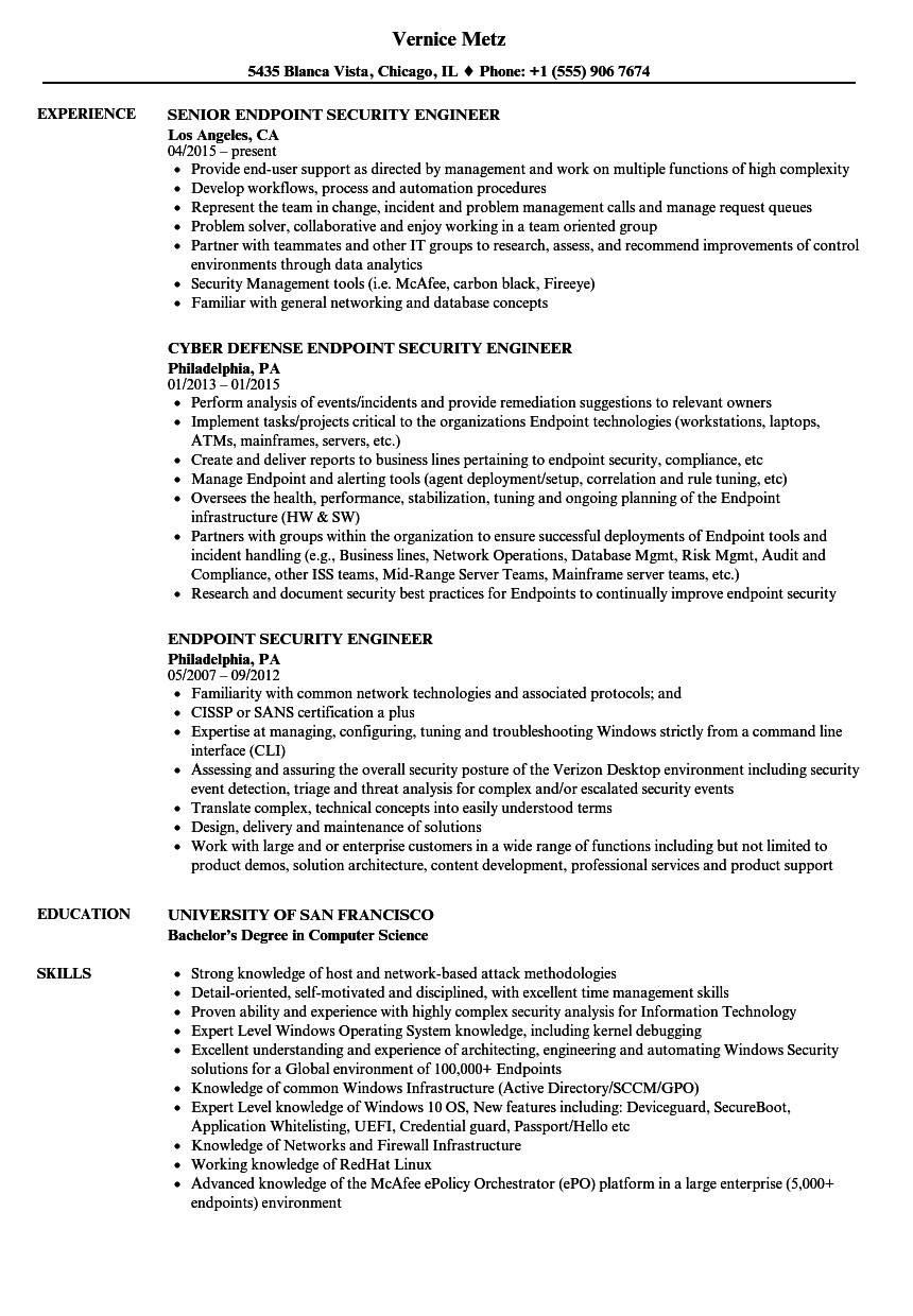 Endpoint Security Engineer Resume Samples Velvet Jobs
