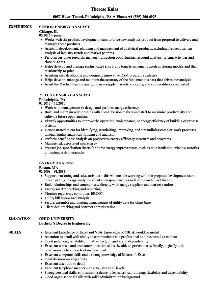 energy analyst resume samples