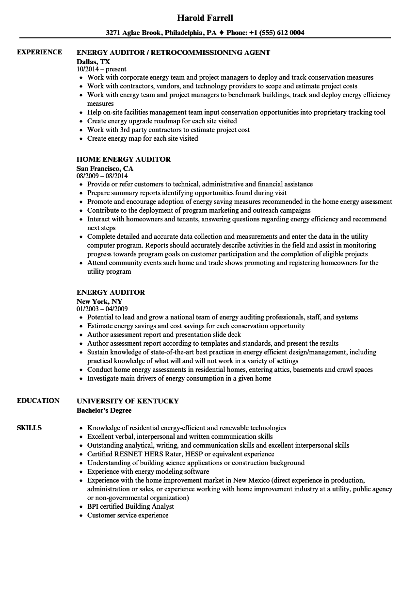 energy auditor resume samples