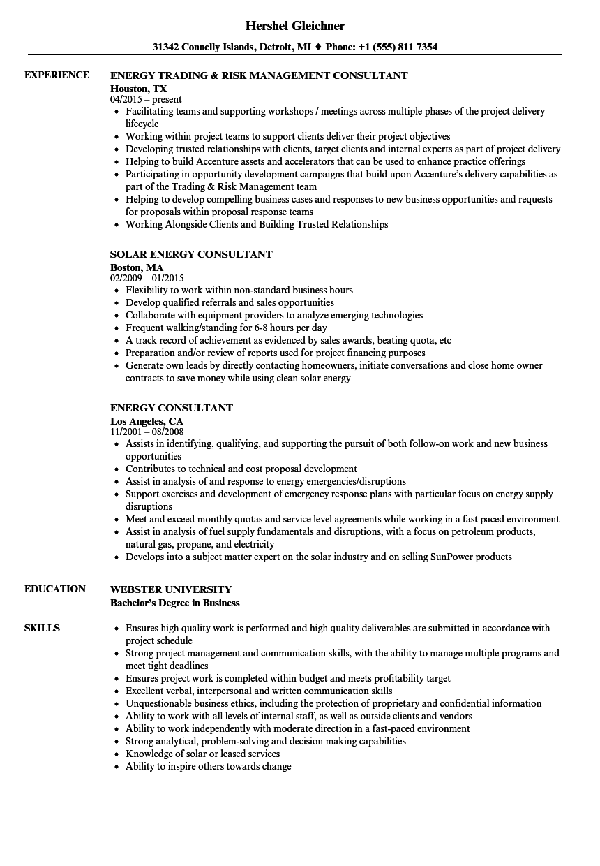energy consultant resume samples