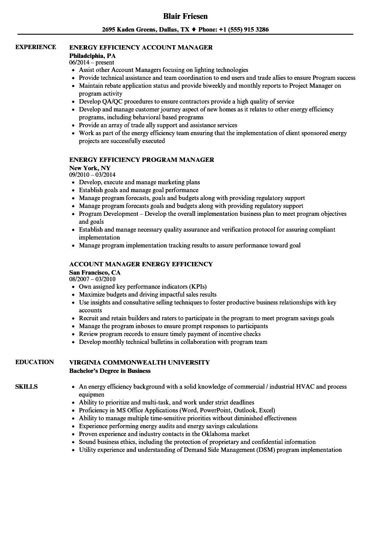 Energy Efficiency Manager Resume Samples | Velvet Jobs