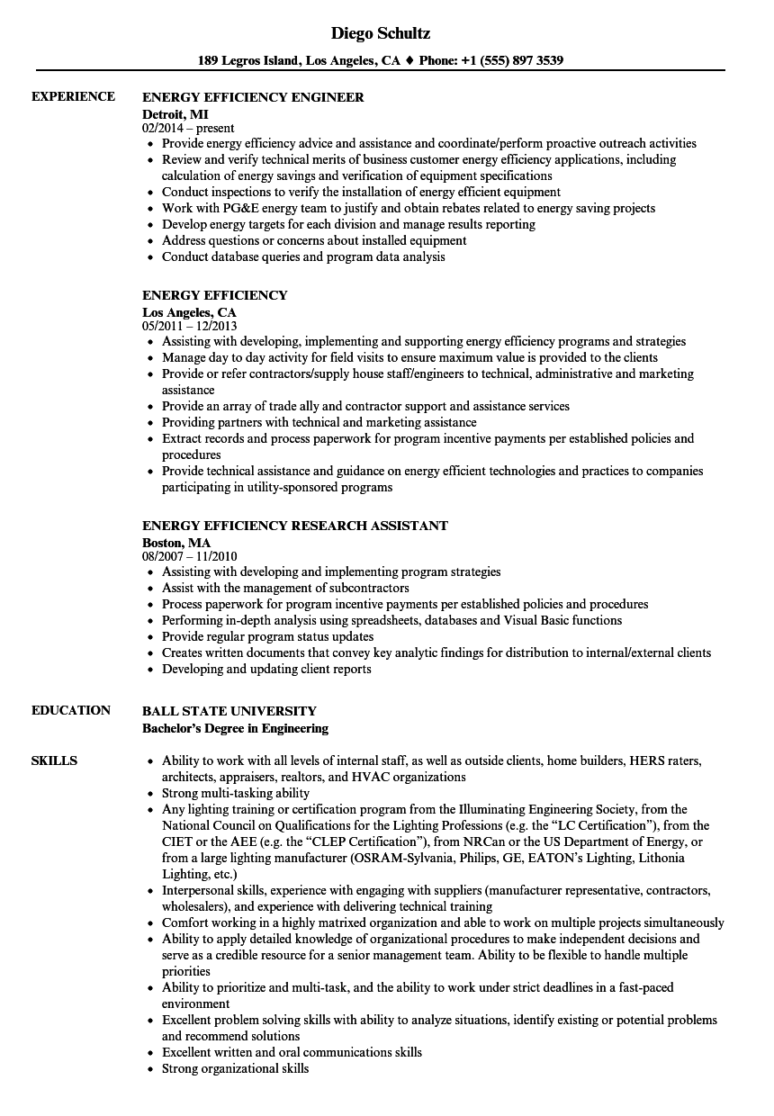 energy efficiency resume samples