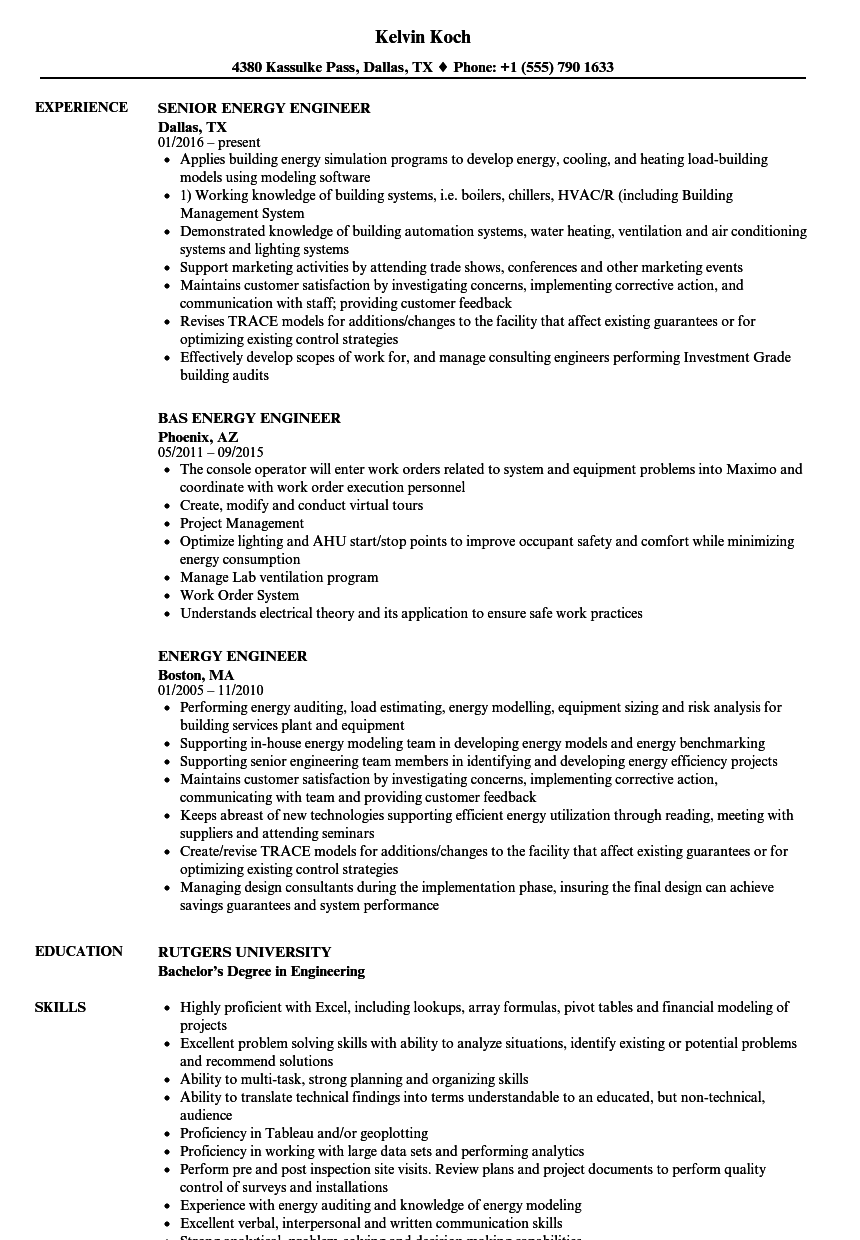 Energy Engineer Resume Samples | Velvet Jobs