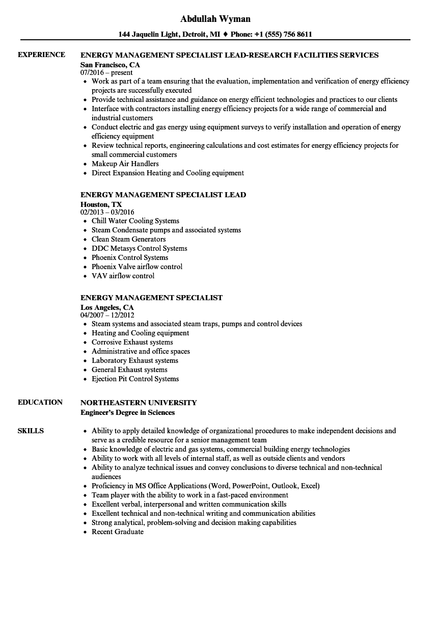 Energy Management Specialist Resume Samples | Velvet Jobs