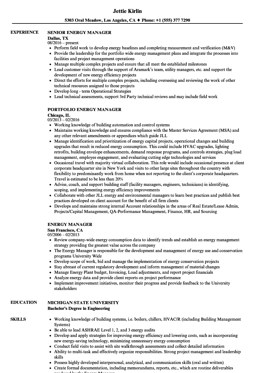 energy manager resume samples