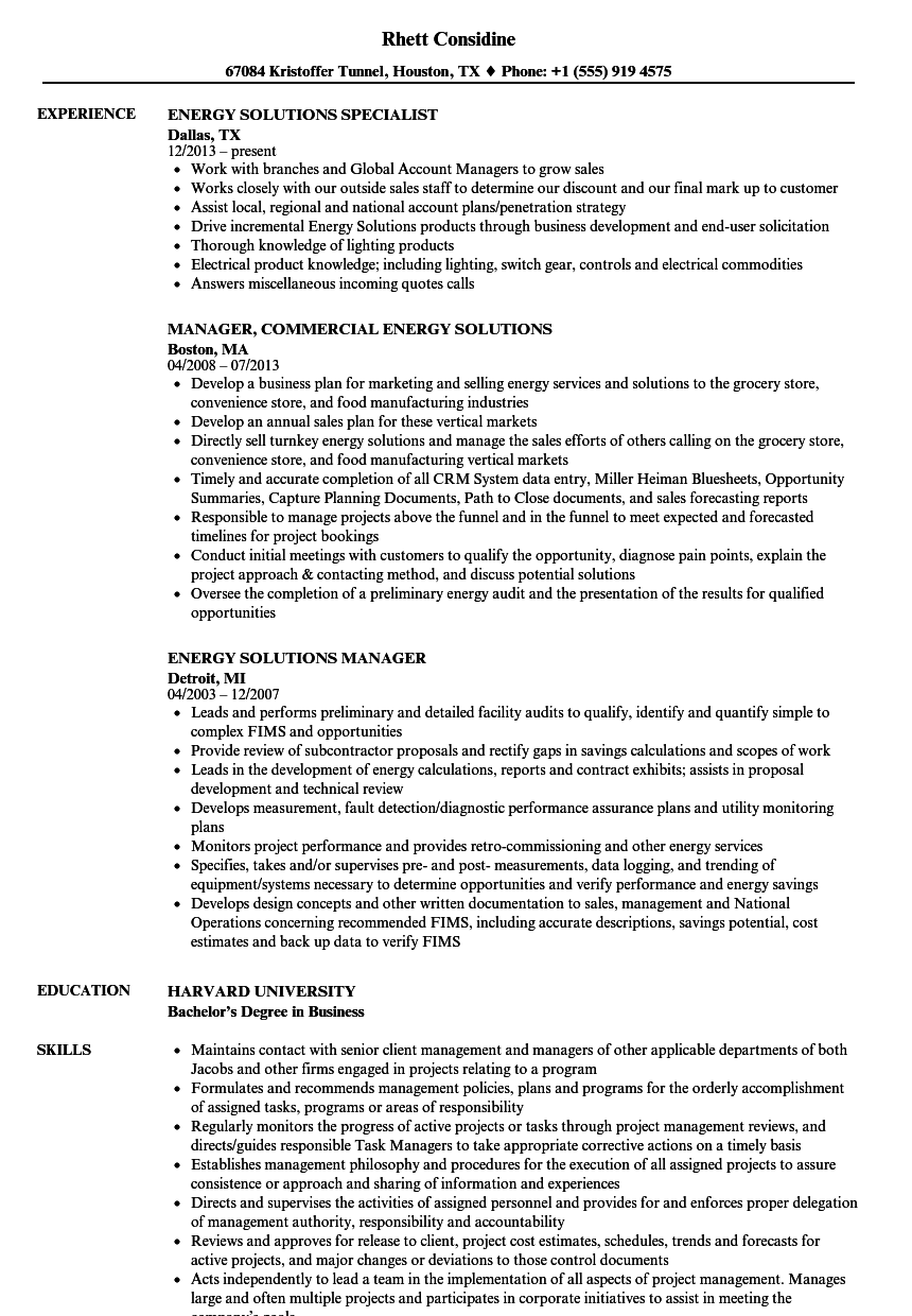 Energy Solutions Resume Samples | Velvet Jobs