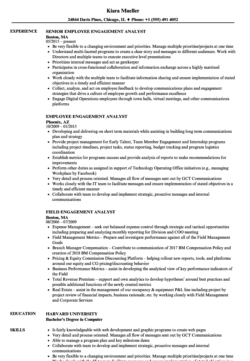 Engagement Analyst Resume Samples | Velvet Jobs