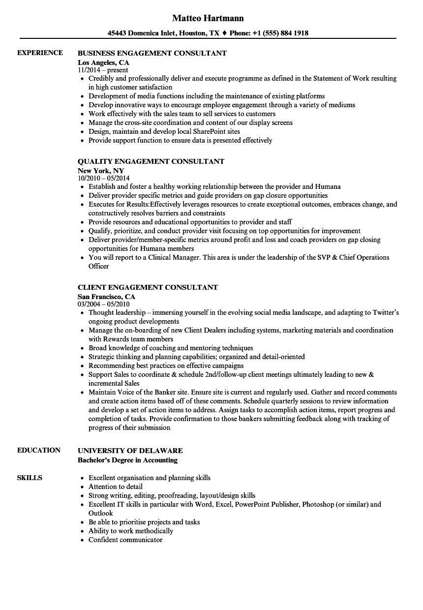 Engagement Consultant Resume Samples | Velvet Jobs