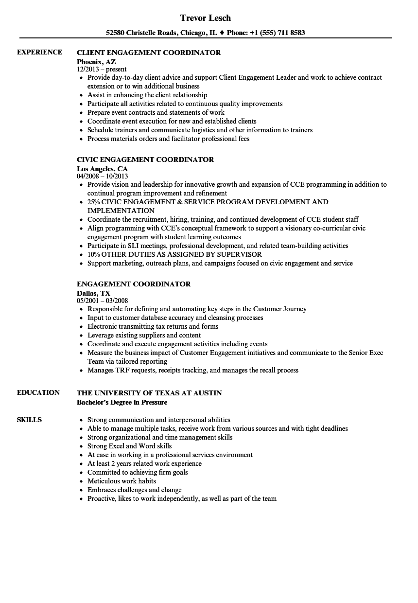 engagement coordinator resume samples