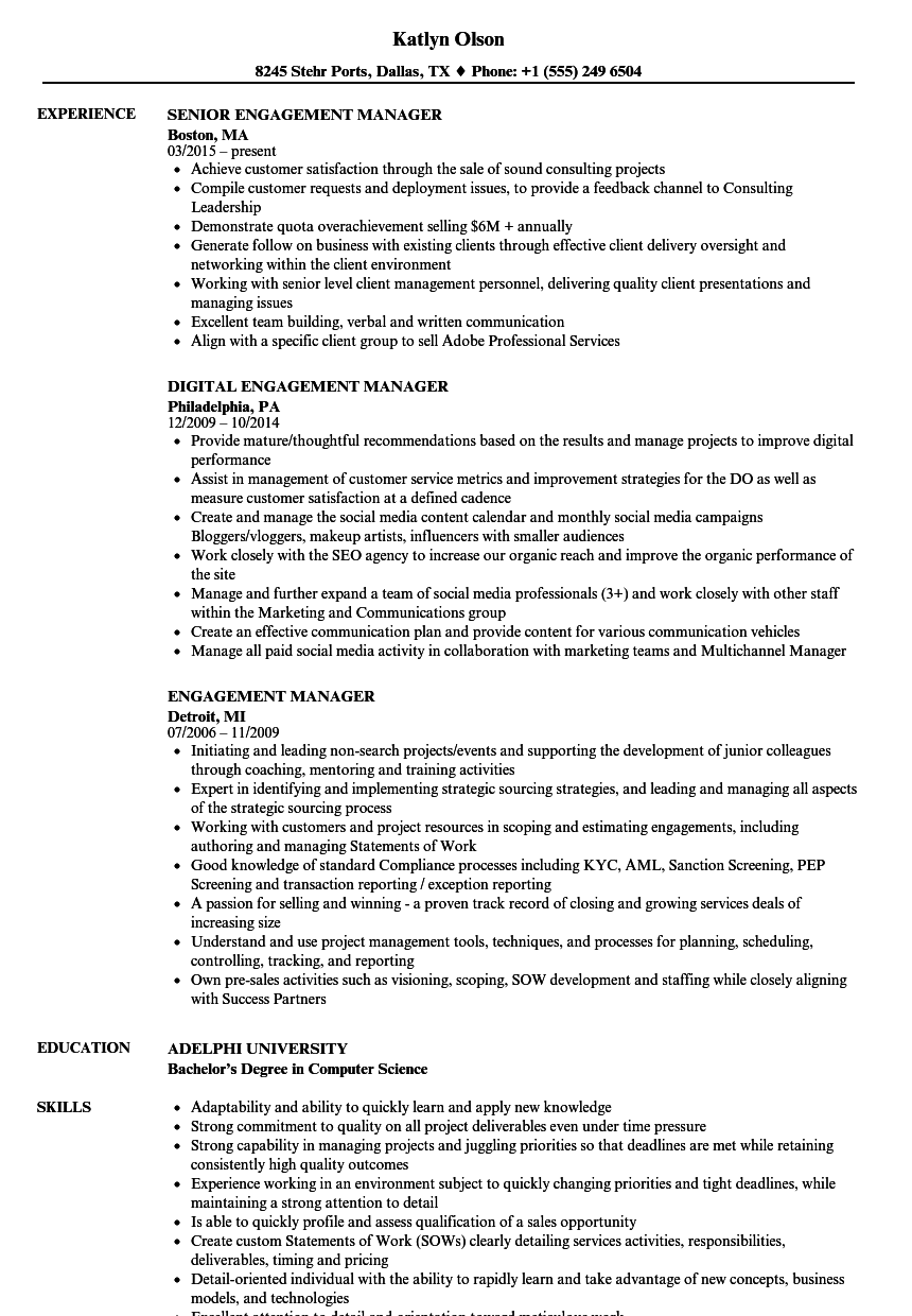 Download Engagement Manager Resume Sample as Image file