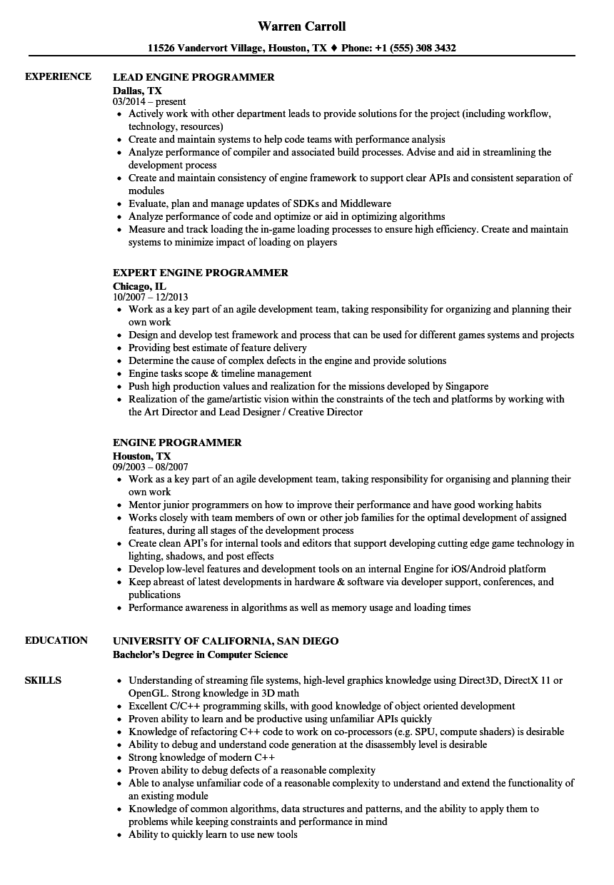 engine programmer resume samples