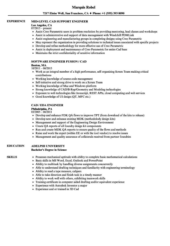engineer    cad resume samples